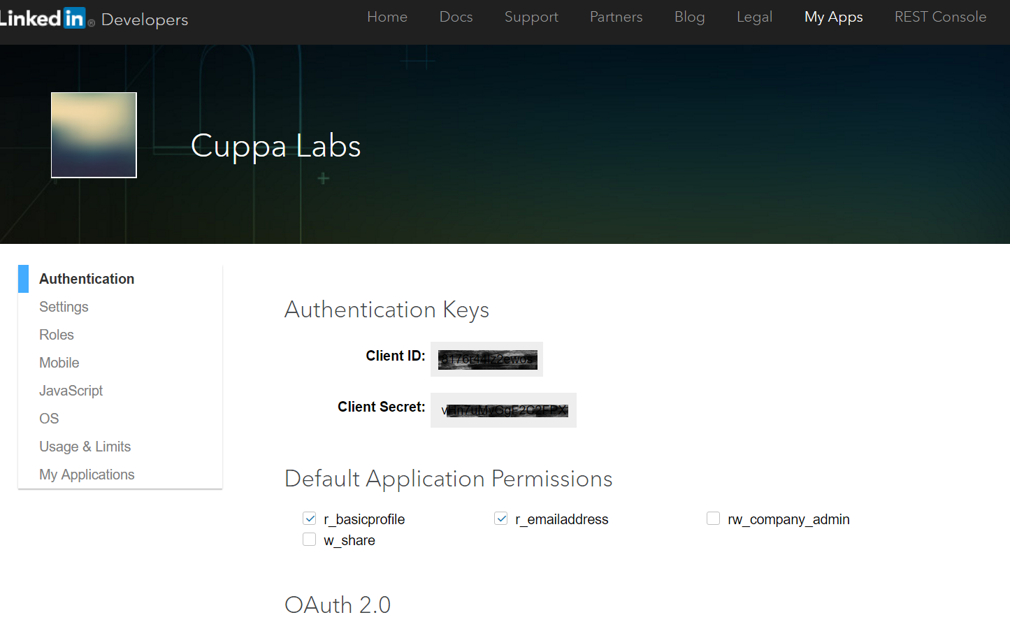 cuppa angular2 oauth social login 6 on creating successfully you will see the following screen client id and client secret